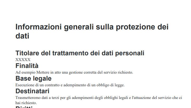 Esempio di Informativa sulla Privacy per sito web